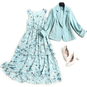 spring summer women lace one button blazer suit office elegant sleeveless floral chiffon dress plus size two piece outfits