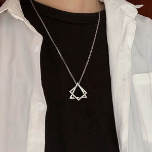 NEW Simple Interlocking Square Triangle Pendant For Men Women Modern Trendy Geometric Stacking Streetwear Necklace Collier Femme
