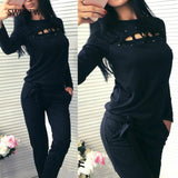 Autumn and Winter Women's Long-Sleeved Strap O-Neck Knit Suit Casual Large Size Solid Color Cotton Sweater Casual Sports S