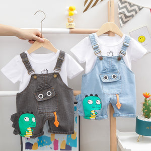Baby Clothes Summer Baby Boys Clothing Set Dinosaur Toddler Girls Clothes Sports Suit Denim Overalls And Top