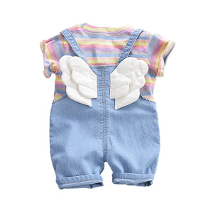 Summer Children Cotton Baby Boys Girls Clothes Stripe T Shirts Bib Denim Shorts 2Pcs/sets Infant Kids Fashion Toddler Tracksuits