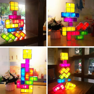 Stackable 3D Puzzles Night Light 7 Colors Magic Blocks Induction Interlocking LED Novelty Desk Lamp Lighting DIY for Kids