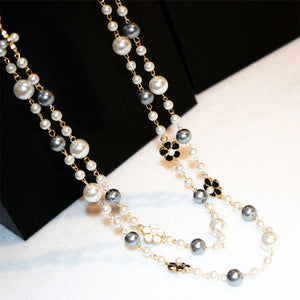 Fashion Classic Double Layers Simulated Pearl Necklace For Women Bijoux Luxury Jewelry Long Necklace Fine Gifts For Mother