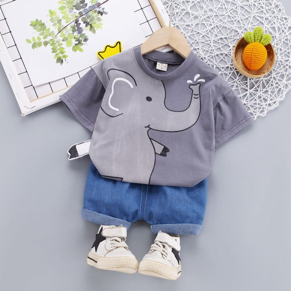 New Baby Boys Girl Summer Clothes Cotton Sets Print Elephant Sports Suit Infant T Shirt Shorts Children Clothing Tracksuits Sets