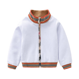 New spring and autumn kids clothes boys girls white long sleeve jacket coat (WHITE)