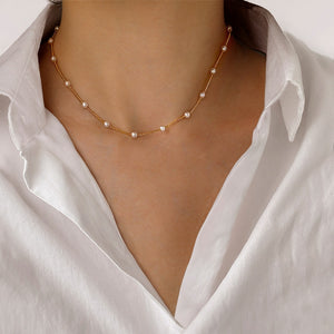 Simple Gothic Baroque Pearl Choker Necklace For Women Wedding Punk Bead Lariat Gold Color Chocker Necklace Jewelry Collier Femme