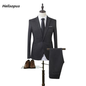 Helisopus Business Leisure Suit Men High Quality Fashion Men Suit Jacket and Pant Wedding Groom Suits Asian size - thefashionique
