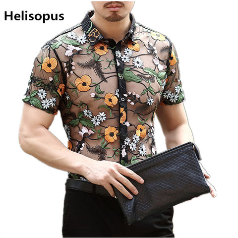 Helisopus Fashion Men's Flower Embroidery Lace Shirt See Through Shirt Men Mesh Transparent Shirt Summer Short Sleeve Shirt - thefashionique