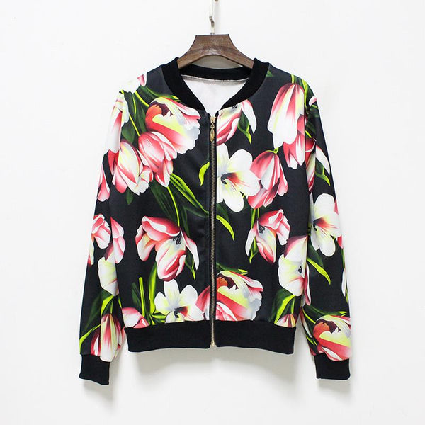 Hermicci 2017 Autumn Winter New Print Flowers Bomber Jacket Women Casual Baseball Jacket Coat Zipper Up Long Sleeve Wear - thefashionique