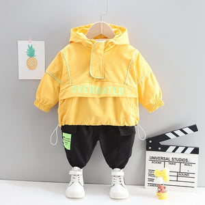 Baby Clothes Set Autumn and Spring Fashion Long Sleeve Letter Zipper Jacket Pants 2pcs Boys Sportswear Toddler