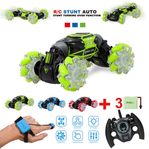 RC Stunt Car 4WD Watch Gesture Sensor Control Deformable Electric Car Remote Control RC Drift Car with LED Light for Kids Gift