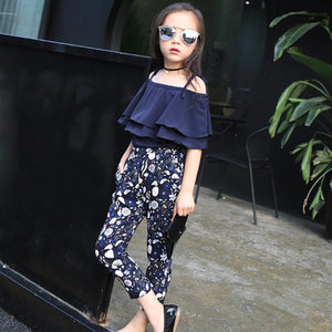 2pcs Toddler Kids Baby Summer Fashion Off Shoulder Pullover T-shirt Tops+Floral Pants Outfits Cotton 3T-12T Baby Girl Clothes