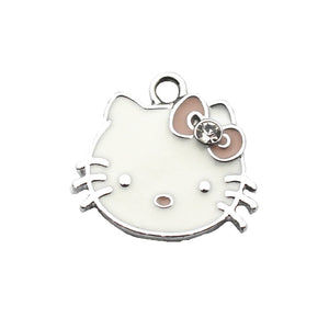 Newest 10pcs/lot cat Dangle Charms crystal charms Pendant Lobster Clasp Hanging For Bracelet Charm Necklace