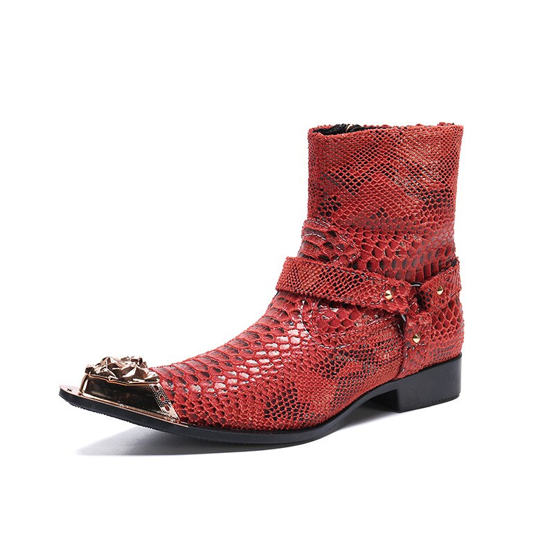 High End Luxury rivets toe red Serpentine cowhide Jodhpurs Boots real picture handmade customized shoes