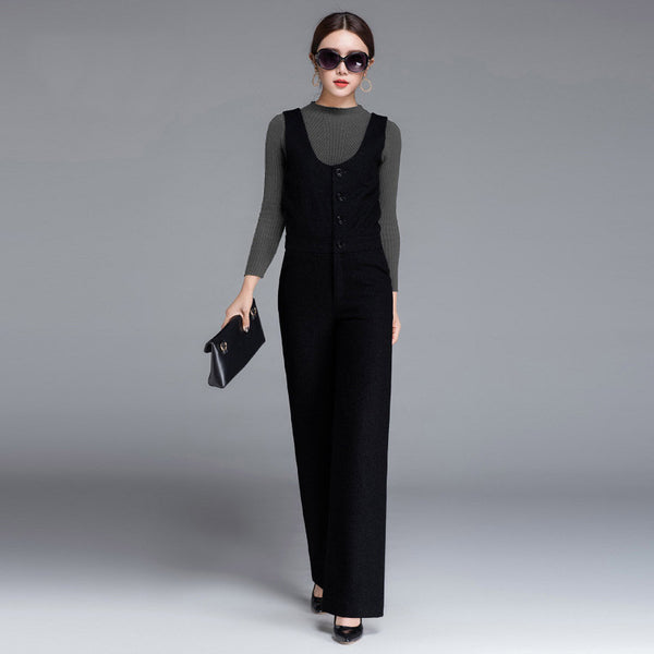 High Quality 2017 Women Woolen Jumpsuit For Autumn Winter OL Black Gray High Waist Office Lady Suit Business Warm Straight Suit - thefashionique