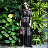High Quality 2017 Women's 3/4 Sleeve Lace Patchwork Vintage Black Long Dress runway Fashion Designer Party Maxi Dress - thefashionique