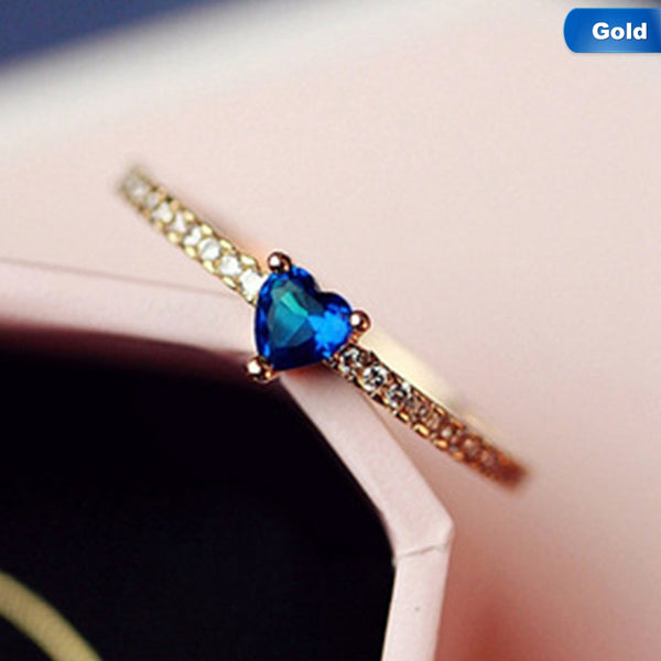 High Quality Blue Heart Cubic Zircon Rings Delicate Bijoux Femme Jewelry Rings for Women Anillos Mujer Gift To Girlfriend - thefashionique