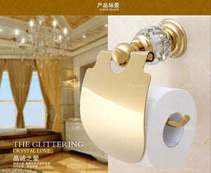 High Quality Luxury Crystal Decoration Gold Brass Toilet Paper Holders Waterproof Tissue Bathroom Sanitary Banheiro Accessories - thefashionique