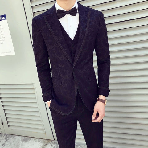 High Quality Mens Wedding Suits 2018 Slim Fit Black Baroque Suits Mens Dinner Dress Luxury Flower Suits Mens Social Club Outfits