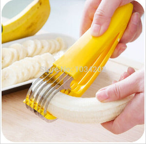 High Quality PP+Stainless Steel Banana fruit slicer/shredder/chopper Cucumber cutter Kitchen easy cooking tools Free Shipping - thefashionique