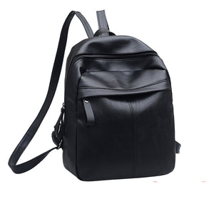 High Quality PU Leather Women Backpack Fashion Solid School Bags For Teenager Girls Casual Women Black Backpacks - thefashionique