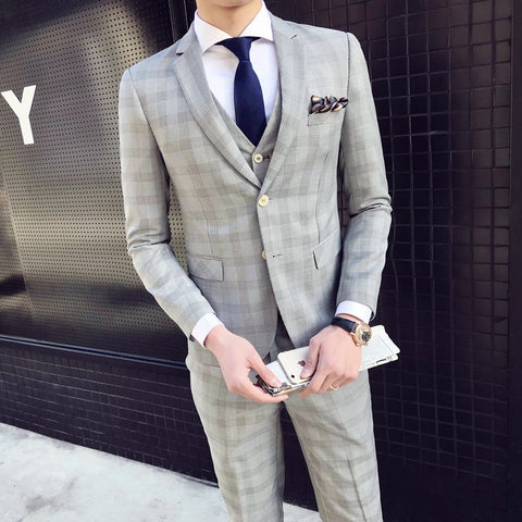 High Quality Suits Mens Slim Fit Grey Plaid Suits Mens Vintge Terno Masculino Traje Hombre Formal Prom Tuxedos 2018 Checkered