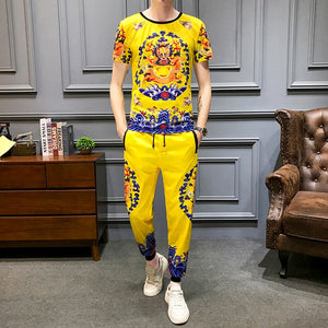 High Quality Tracksuit Top And Pants Men Yellow Dragon Print Two Piece Set Men Slim Fit Outfits Men Set Short Sleeve T Shirt