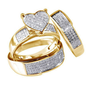 High Quality Women Wedding Ring Set Sparkling Perfect Heart  Silver Crystal Zircon Stone Rings Female Party Jewelry - thefashionique