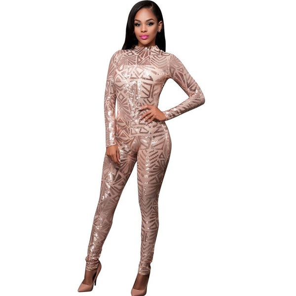 High-end Custom Black Gold Sequin Jumpsuit 2017 Spring Women Long Sleeve High Stretch Party Club Bodycon Rompers Overalls S2772 - thefashionique