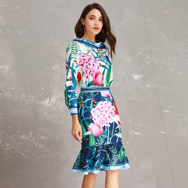 2510e6758fe2f High-end New 2019 Spring Summer Runway Designer Print Long Sleeve Large  Collar Blouse + Mermaid Skirt Suits Women Twinsets