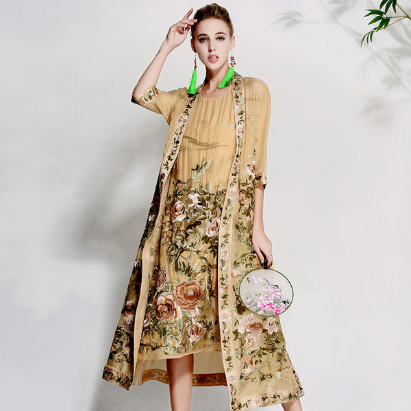 High-end floral spring summer women trench coat dress ladies embroidery suit elegant loose lady silk Sunscreen coat set M-XXXL - thefashionique