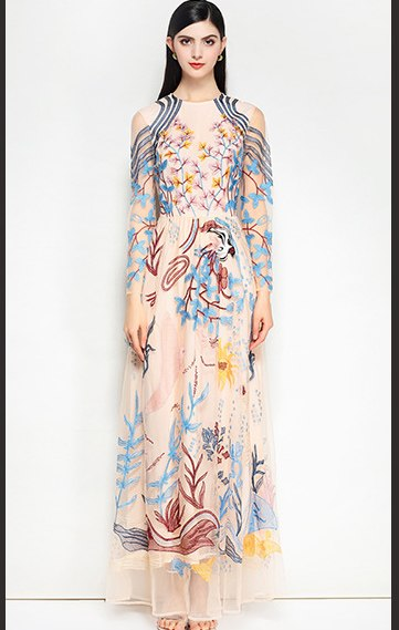 bb2a63afe85 High quality 2018 fashion designer runway maxi dress Women s Long Sleeve  Elegant Pattern Embroidered Vintage Party. prev