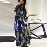 High-quality 2018 new designer fashion runway summer Long dress Women long sleeved pattern printed vintage party maxi dress - thefashionique
