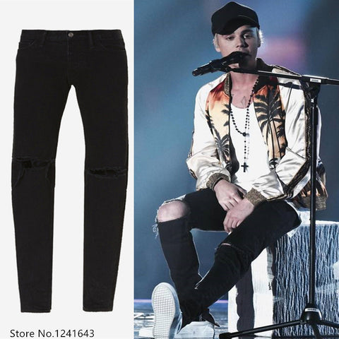High quality Hip hop men ankle zipper biker denim pants justin bieber jeans fear of god designer destroyed ripped jeans