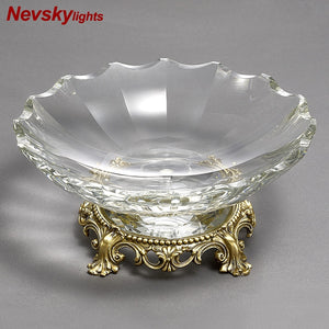 High quality crystal fruit plate candy plate salad plate crystal tray Living room tableware Kitchen utensils Cristal candy pots - thefashionique