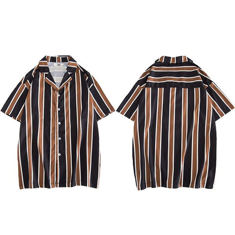 a23aa8d1 Hip Hop Shirts Streetwear 2019 Summer Mens Beach Shirt Harajuku Retro  Stripe Shirt Vintage Fashion Tops. Add to wishlist