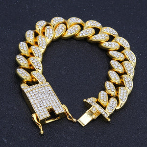 HipHop Men Iced Out Cuban Link Bracelet Simulated Diamonds Bracelet Cuban Links & Chains Alloy Bracelet for Bangle Male Jewelry