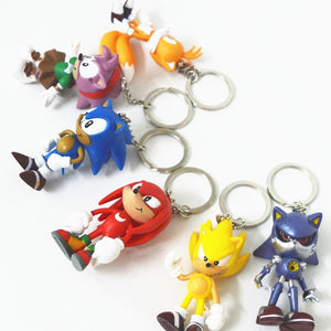 Hobby collection dolls Sonic the Hedgehog pvc doll 6pcs/set Keychain 6pcs/set Sonic family mouse speed sonic ornaments - thefashionique