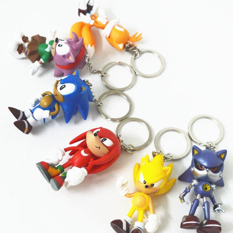 Hobby collection dolls Sonic the Hedgehog pvc doll 6pcs/set Keychain 6pcs/set Sonic family mouse speed sonic ornaments