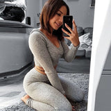 Hodisytian Spring Women Tracksuits Sexy Hoodie Set Stretch Short Tops Casual Skinny Hooded Sweatshirts Knitted Tunic Pants - thefashionique