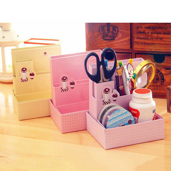 Home Storage Organization DIY Paper Board Storage Box Desk Decor Stationery Makeup Cosmetic Organizer 2018ing - thefashionique