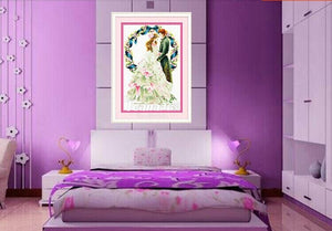 Home bedroom decor completed finished  weebing cross stitch kit embroidery  no frame