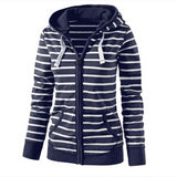 Hooded Striped Women Hoodies Sweatshirts Plus Size Zipper Autumn Tops Long Sleeves Korean Loose Pockets Pullovers Female** - thefashionique