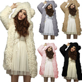 Hoodies Sweatshirt Fleece Fur Coat 2018 Women Winter Warm Soft Jacket Teddy Bear Ears Thick Overcoat Hooded Hoody Long Outerwear - thefashionique
