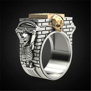 "Horror Gothic ""Skeleton Hanging On The City Wall"" Skull Ring Fashion Two-tone Punk Jewelry Men's Hip Hop Party Ring Gift for Boy"
