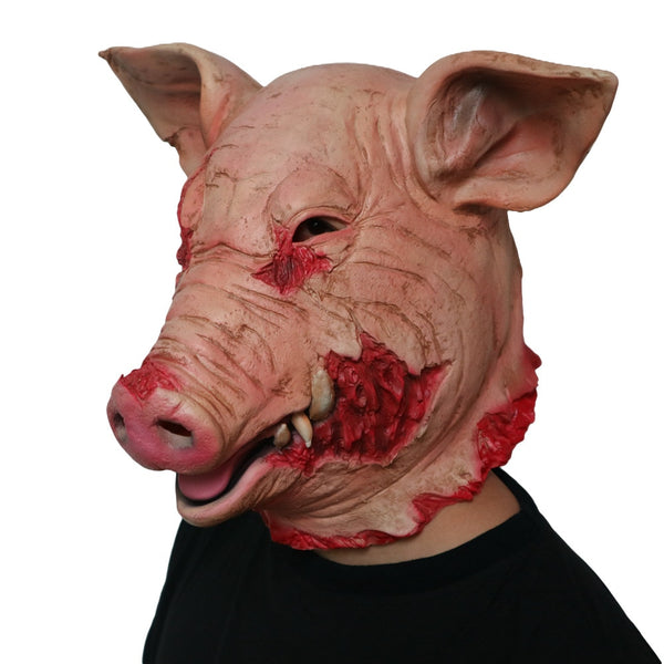 Horror Halloween Cosplay Costume Mask Saw Pig Head Animal Scary Mask Latex Prop Party Holiday Supplies Decoration
