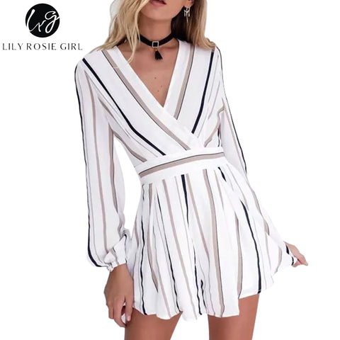 Hot 2018 Sexy Black and Brown Striped Jumpsuit Romper Women V Neck Long Sleeve Overalls Beach Casual New Belt Beach Playsuit