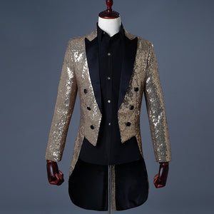 Hot 5 Colors 2018 Men Gold Silver Red Blue Black Sequin Slim Fit Tailcoat Stage Singer Costume Wedding Groom Suit Jacket - thefashionique