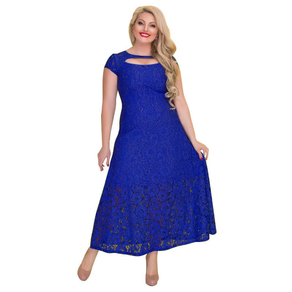 Hot Fashion Party Red Blue Green Elegant Lace Dress Plus Size 6XL Women's Summer Maxi Long Dresses Short Sleeve Dress Vestidos - thefashionique