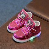 Hot Girls shoes baby Fashion Hook Loop led shoes kids light up sneakers Girls hello kitty children shoes with light in stock - thefashionique